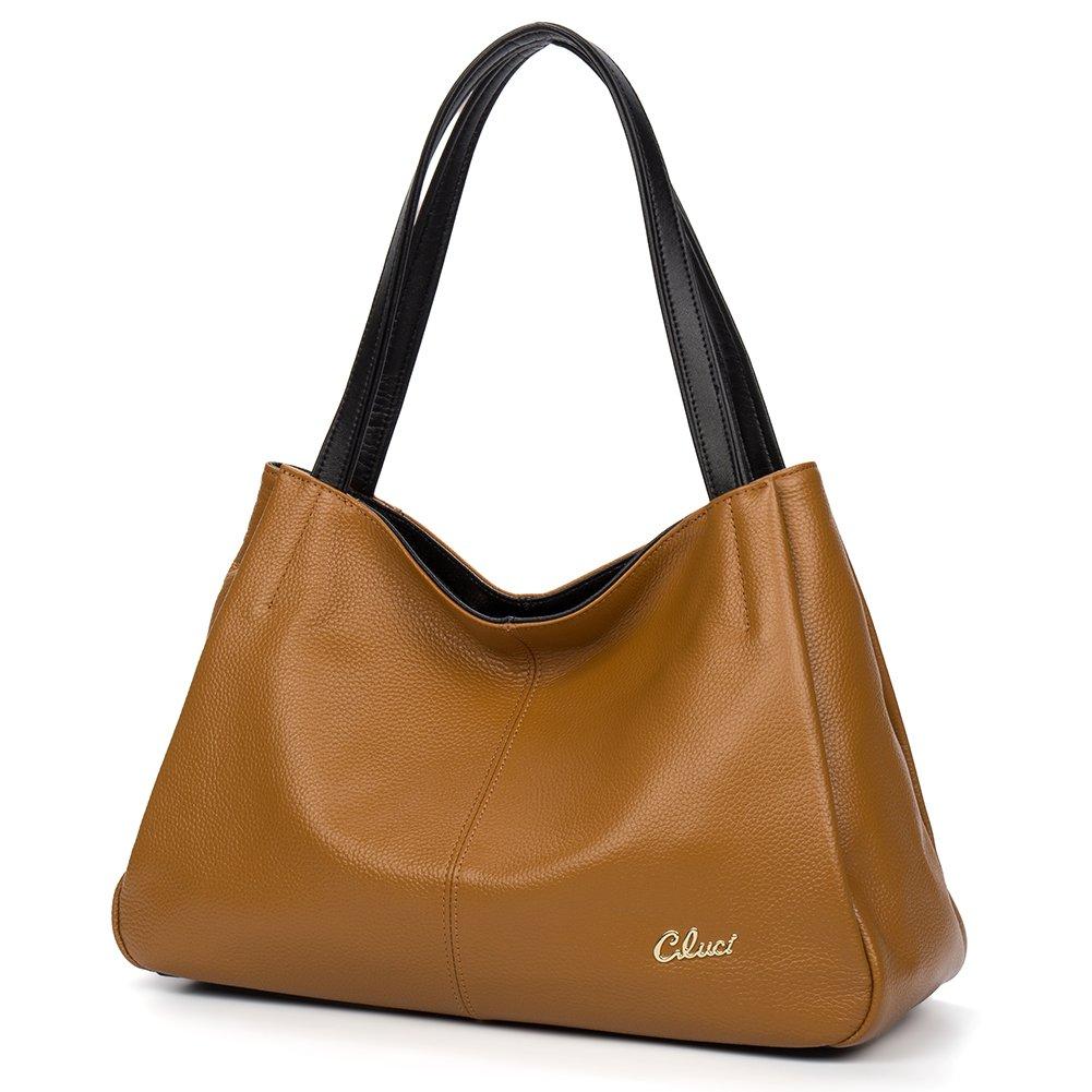 CLUCI Leather Handbag Tote Purse Satchel Shoulder Top-handle Bag for Women Light Tan