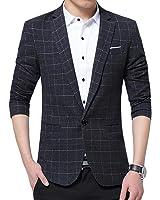 ARRIVE GUIDE Men's Plaid Slim Lapel One Button Tweed Outdoor Blazer Jackets