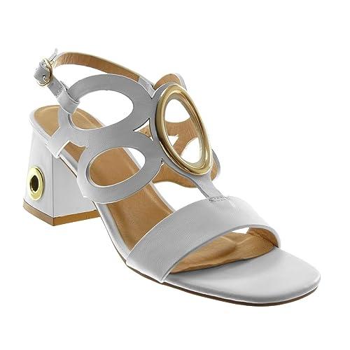 Zapatos dorados de punta abierta sexy Angkorly para mujer SA24O5xCsz