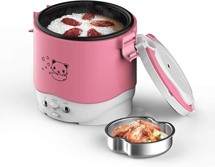 Small Rice Cooker,12v Portable Travel Rice Cooker For Car, Cooking Heating and Keeping Warm Function, Can be Used As a Electric Lunch Box (Pink)