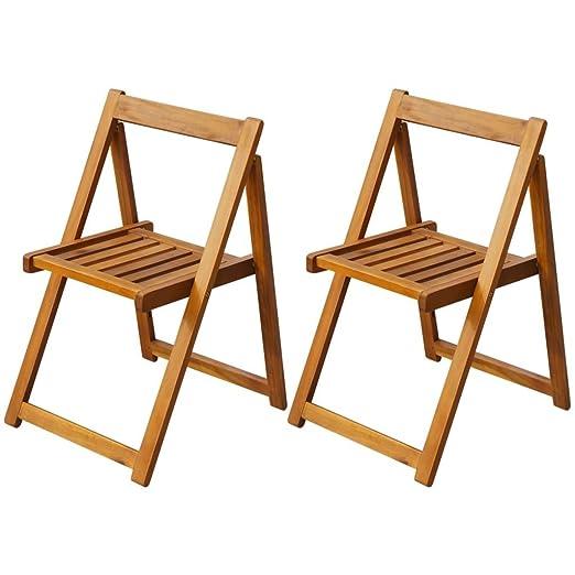 Sedie Pieghevoli Di Design.Luckyfu Questo Set 2 Pz Sedie Pieghevoli In Legno Di Acacia Design