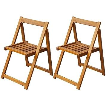 Luckyfu questo Juego 2 Piezas sillas Plegables de Madera de Acacia.Diseño Moderno y Elegante