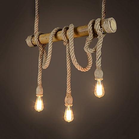Araña Retro Hemp Cuerda Colgante industriales lámpara de ...