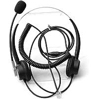 Comdio Comdio Wired Binaural Call Center RJ9 Telephone Headset Headphones with Noise Canceling Microphone Work for Avaya…