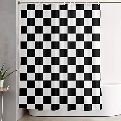 POP MKYTH Mildew Resistant Shower Curtains Race Waving Checkered Flag 60x70 Inch