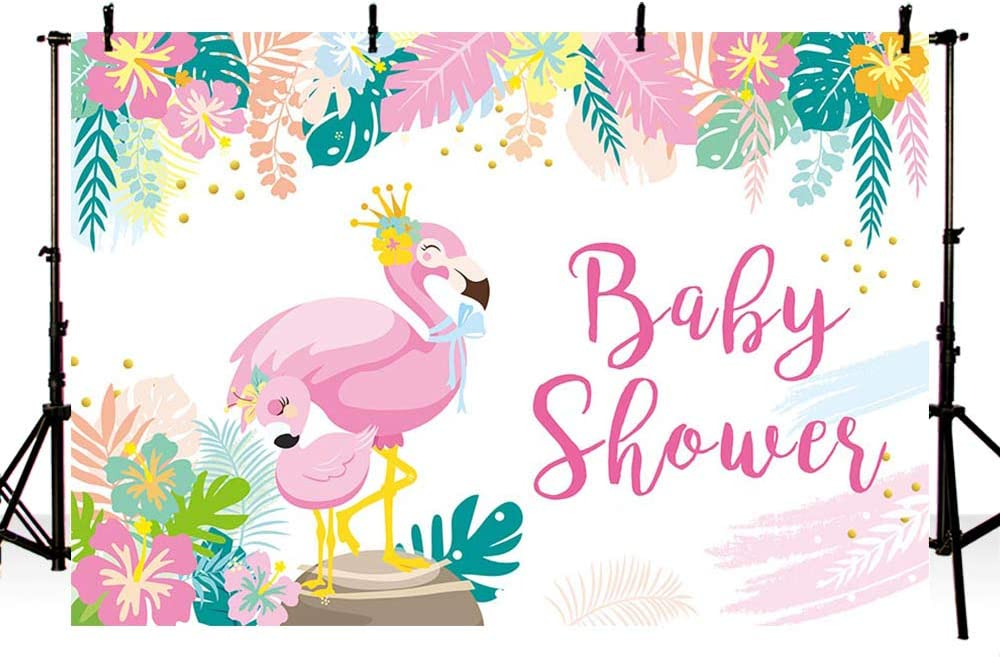 MEHOFOND Flamingo Theme Girl Baby Shower Party Decoration Backdrop Summer Pink Tropical Leaves Flamingo Gift Table Supplies Photography Background Vinyl Backdrop 7x5ft
