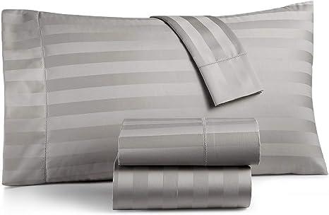 Amazon Com Charter Club Damask Stripe 550 Thread Count Supima Cotton 4 Piece Queen Sheet Set Smoke Kitchen Dining