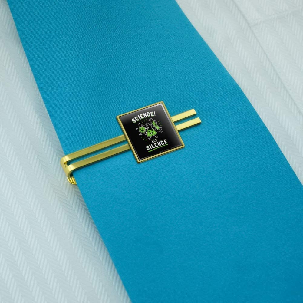 GRAPHICS /& MORE Science Not Silence Funny Humor Square Tie Bar Clip Clasp Tack Silver or Gold