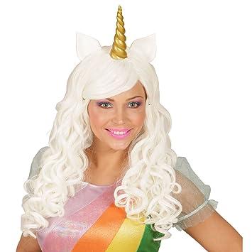 Amakando Pelo Postizo Fantasía | Peluca de Unicornio con Cuerno | Peluca Cosplay | Cabello Manga