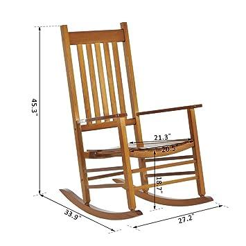 Amazon.com: Popular silla de madera para balcón de porche ...