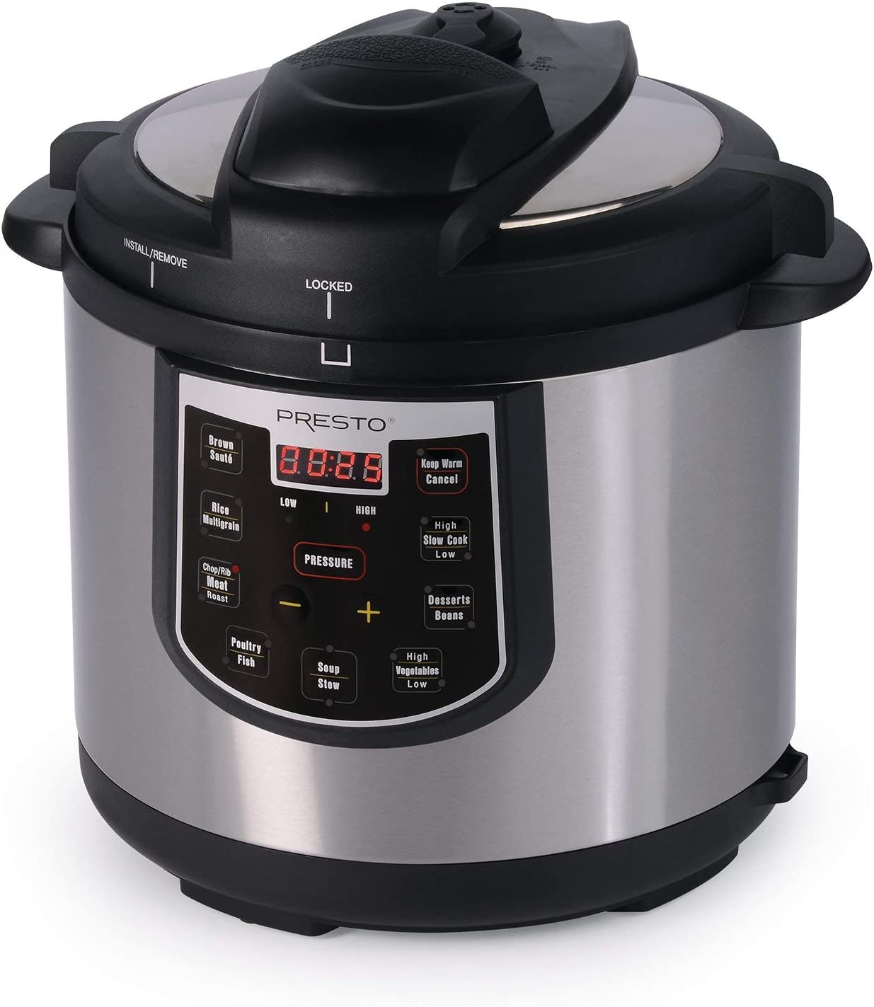 Presto 02141 6-Quart Electric Pressure Cooker, Stainless, Black, Silver (Renewed)