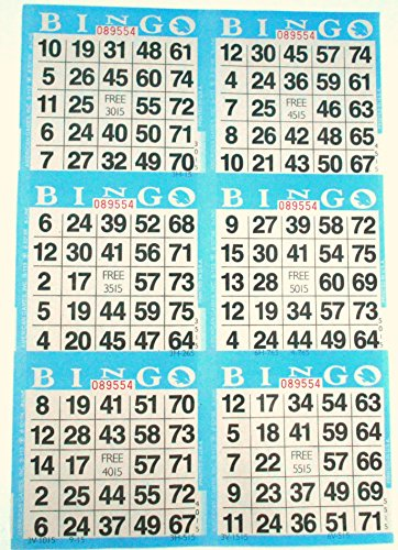 6 on Blue Bingo Paper Cards - 500 sheets - 3000 -