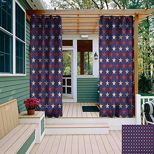 (leinuoyi USA, Outdoor Curtain Set, Vintage Patriotic True Blue Home Country My Land Birthday Retro Artsy Pattern, for Patio Waterproof W108 x L108 Inch Dark Blue Cream)