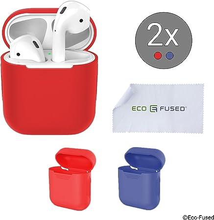 Eco-Fused Cubiertas Protectoras Compatible con el Estuche Apple AirPods – Paquete de 2 (Rojo y Azul) – Cubiertas de Silicona – Protege el Estuche de Tus AirPods contra arañazos y Golpes: Amazon.es: Hogar