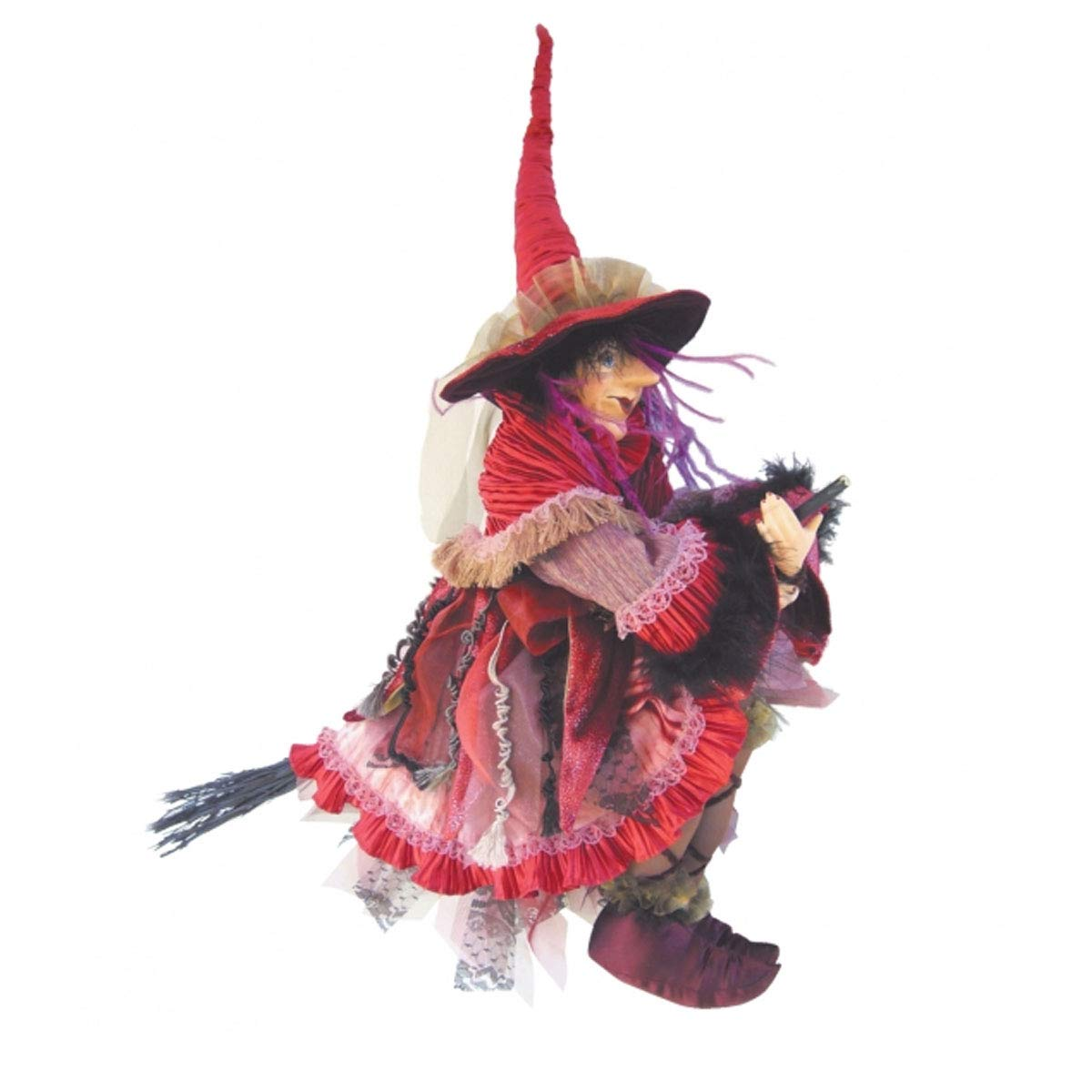 Witches of Pendle - Casandra Witch Flying (Burgundy) 60cm 5537-2