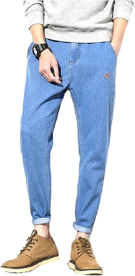 EnergyWD Men Plain Rolled Cuff Loose Casual Trousers Denim Jeans Tenths Pants