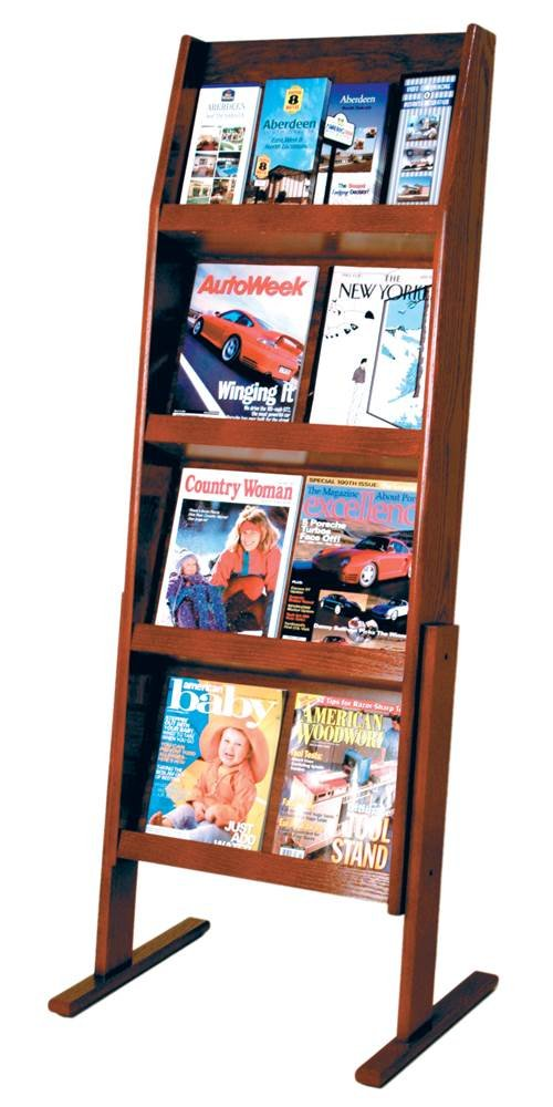 Wooden Mallet Slope 16 Pocket Standing Literature Display 4Hx4W, Mahogany