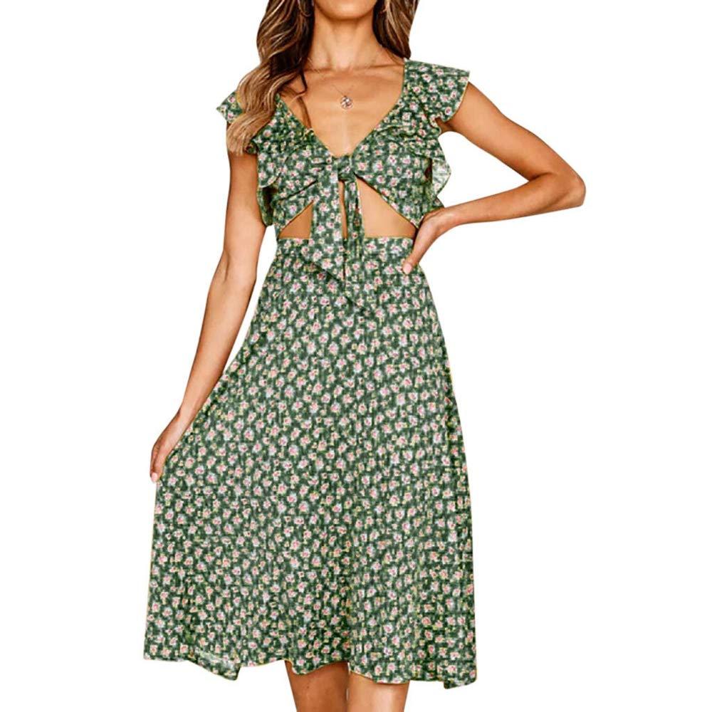 Libermall Women's Dresses Summer Bowknot Front Slim Fit Suit Sets Print Sundress Party Mini Dress 2Pcs Green