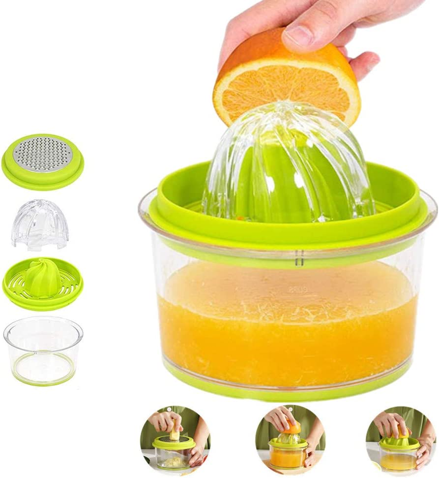 Citrus Lemon Orange Juicer, Manual Hand Squeezer with Built-in Measuring Cup and Grater, 16OZ 4 in 1 Multi-function Manual Juicer with Multi-size Reamers Cheese Ginger Garlic Grater Green