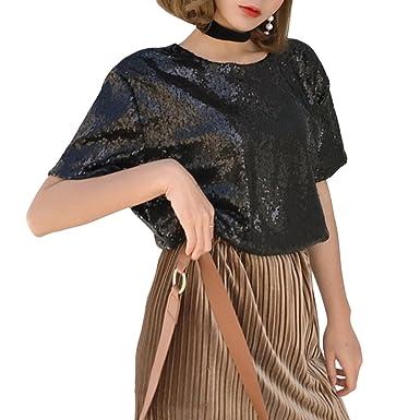 abb0031bb0c Mocure Women Medium-Long Loose Sequins T-Shirt Solid Colors Blouse Hip Hop T