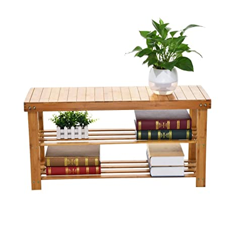 Amazoncom Iusun Bamboo Shoe Rack Foot Stool Storage Shelf