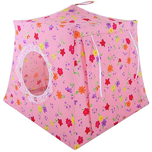stuffed animals flower print fabric for dolls light pink Toy Pop Up Tent Sleeping Bags