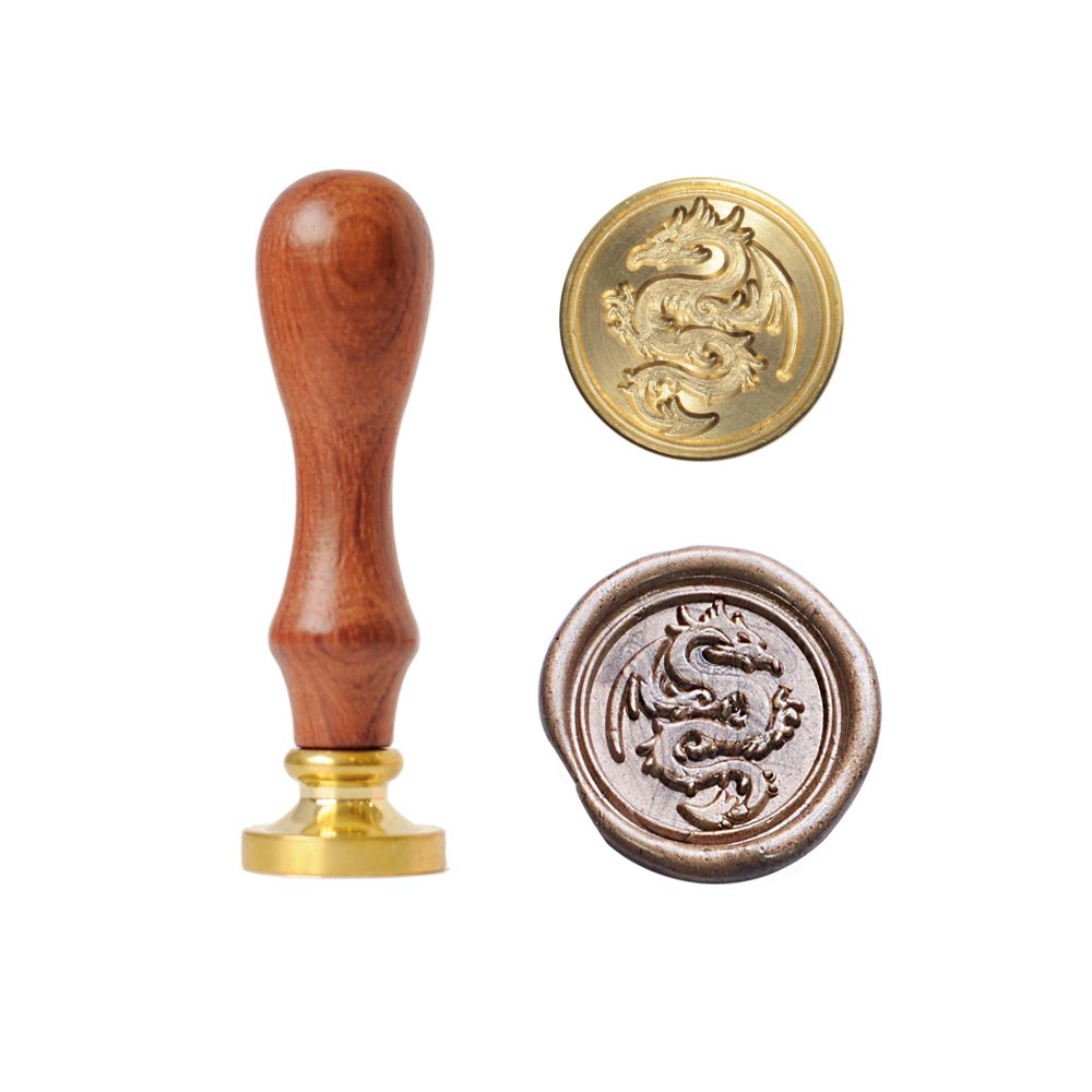 UNIQOOO Arts & Crafts Flying Dragon Wax Seal Stamp- Great for Embellishment of Envelopes, Invitations, Wine Packages, etc- Exceptional Gift Idea for Artistic Types and Everyone Else In Between