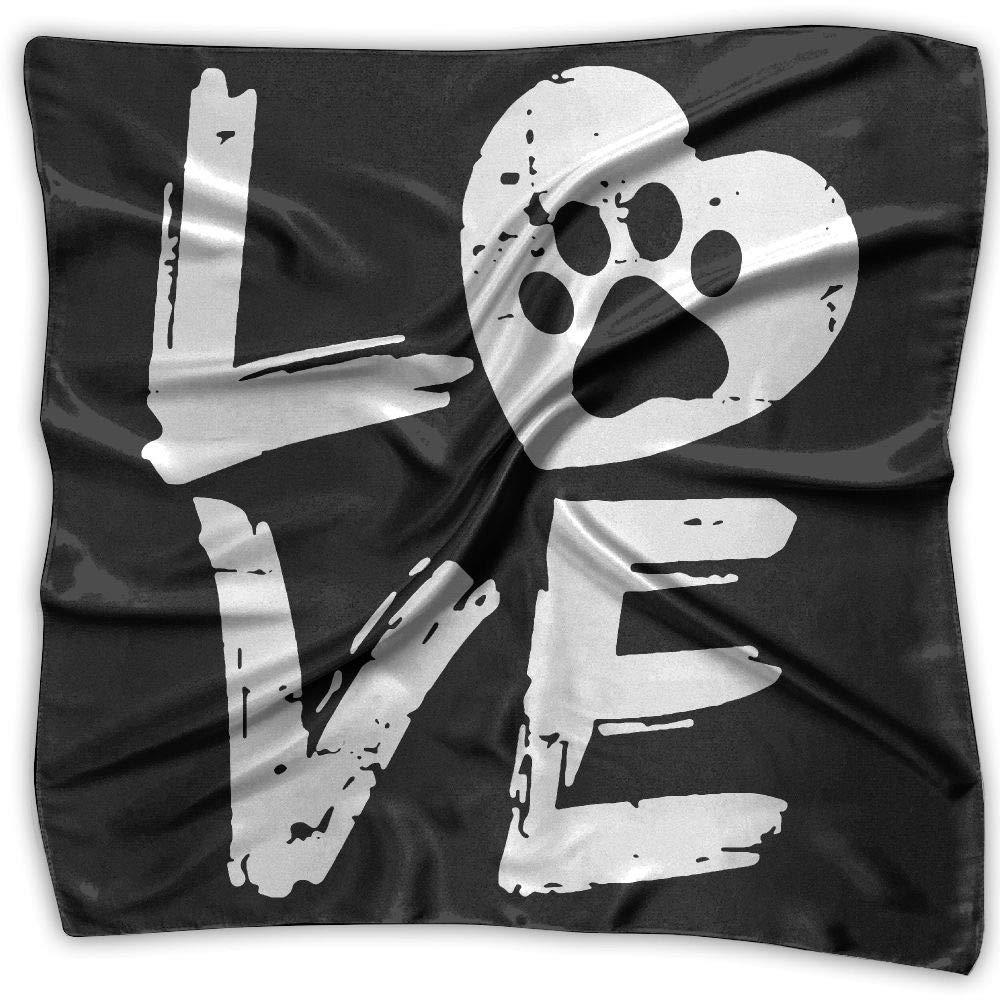 Love Paw Print In Heart Men Women Silky Scarf Handkerchief Bandana Wrap Scarf