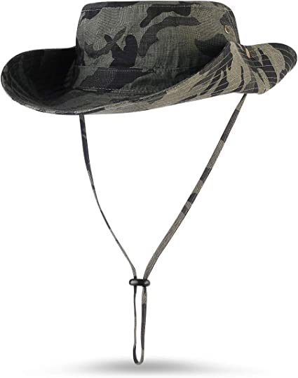 Men Camo Military Boonie Cap Sun Bucket Brim Bush Army Fishing Hiking Hat