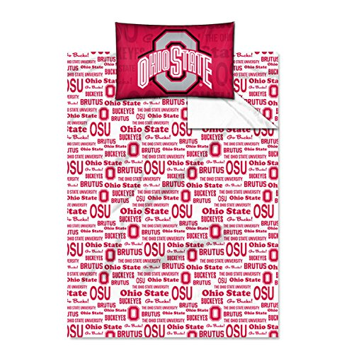 3 Piece Twin NCAA COL Ohio State Buckeyes Columbus Anthem Sheet Set, Red Gray, Sports Patterned Bedding, Featuring Team Logo, Ohio State Merchandise, Team Spirit, College Football Themed, Polyester