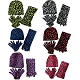 Women 6 Pack Fleece Animal Print Scarf, Gloves & Beanie Winter Set, assorted, one size