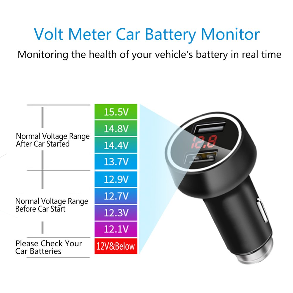 Palumma Car Charger 5v 36a Dual Usb Port Safe Smart Battery Volt Meter Circuit Using Led Quick Adapter With Lcd Display Low Voltage Warning