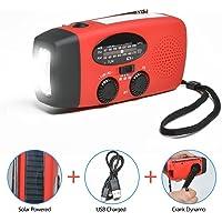Odoland [Version Améliorée] 3-en-1 Radio Solaire + Lampe de Poche – Radio à Manivelle, Port USB, 300mAh Chargeur d'Urgence