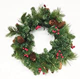 18inch Christmas Wreath with Berries & Pinecones (Unlit) (Small image)