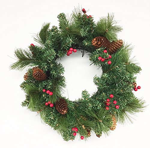 18inch Christmas Wreath with Berries & Pinecones (Unlit) (Large Image)