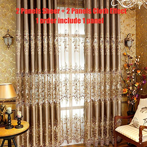 AiFish Room Darkening Curtains for Living Room Embroidered Soft Chenille Drapes Eyelet Delicate Luxury Thermal Insulated Floral Design Window Curtain Panel for Bedroom 1 Piece W39 x L84 inch