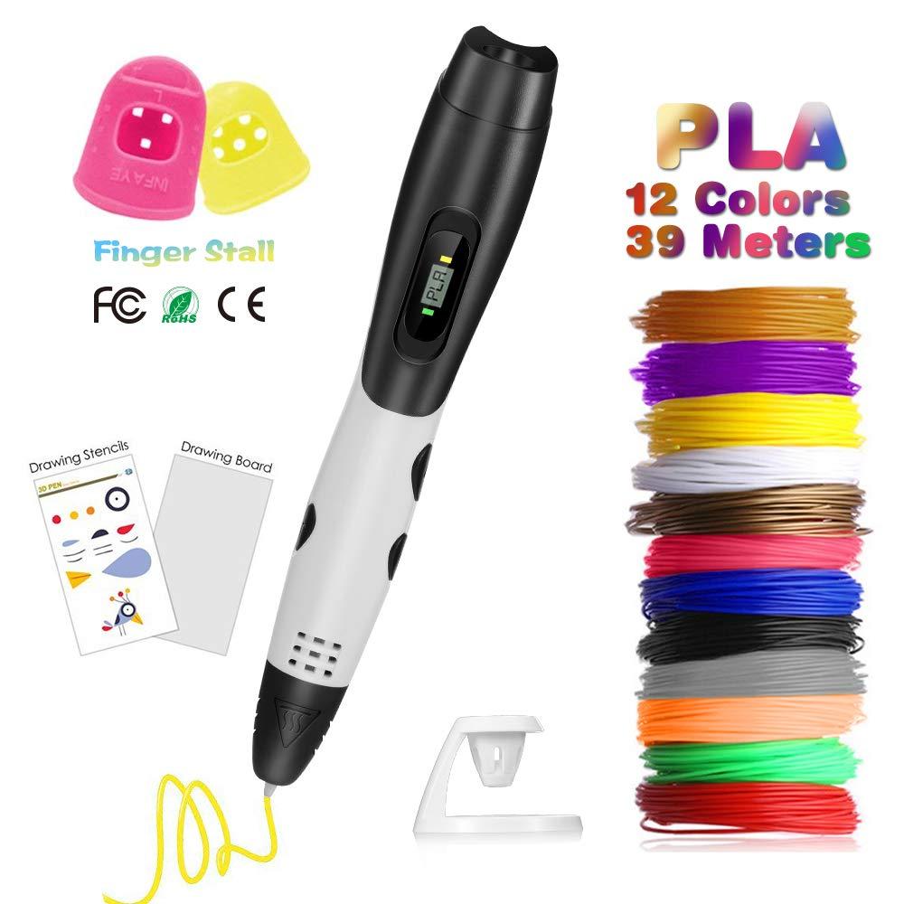 3D Stifte mit LCD Display, Fede 3D Druckstift mit 12 Stü cke 1, 75 mm PLA Filament, 12 Farben, 3D Druckstift mit PVC Zeichenbrett+Zeichenschablone, einschließ lich 8 Muster fü r Kinder, Erwachsene Geschenke