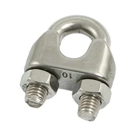 Stainless Steel Wire Clip   Amazon Com Uxcell Silver Tone 10mm Stainless Steel Wire Rope Clip