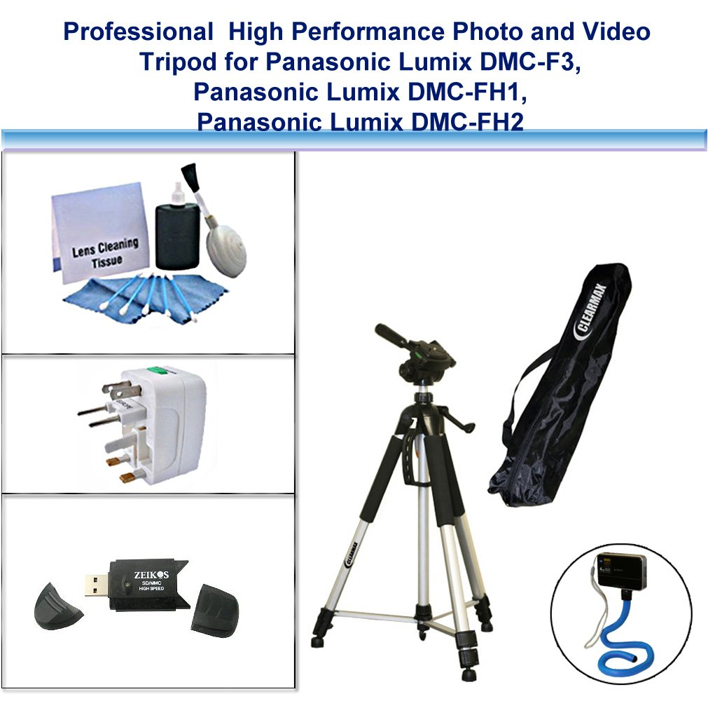 Professional High Performance Photo and Video Tripod with Flexible Monopad, USB Card Reader, Universal Adapter and 5PC Lens Cleaning Kit for Panasonic Lumix DMC-F3, Panasonic Lumix DMC-FH1, Panasonic Lumix DMC-FH2