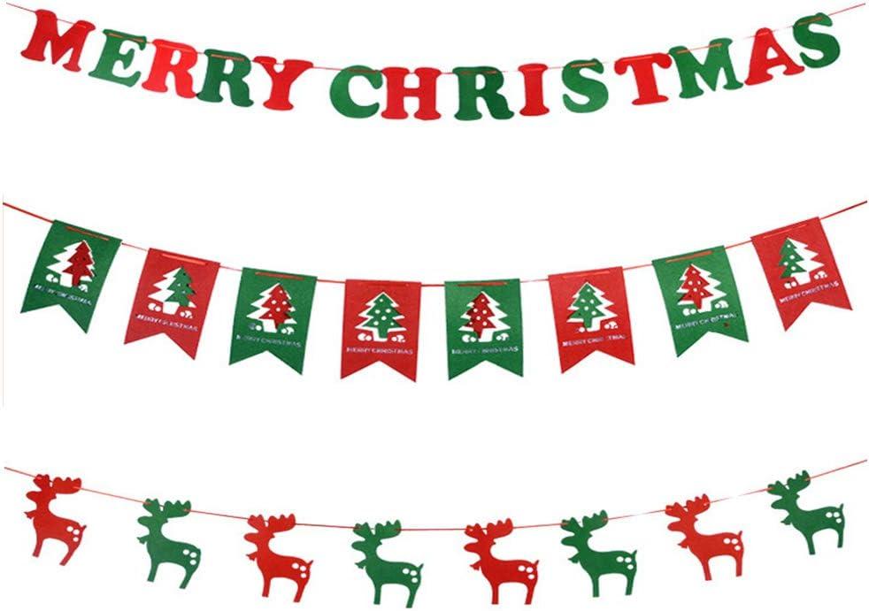 Banner Natale Bandiere Bunting Hanging DIY per Decorazione Domestica Feste nastro appeso 3 m 3,6 m Banner di juta di Natale 2 stili Banner scelta per Natale Forniture per feste Decorazioni Style-1