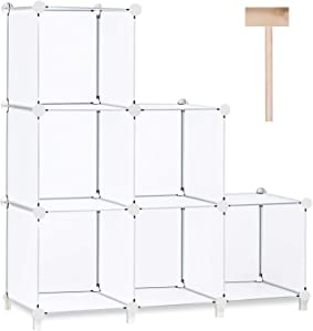 Puroma Cube Storage Organizer 6-Cube Closet Storage Shelves with Wooden Hammer DIY Closet Cabinet Bookshelf Plastic Square Organizer Shelving for Home, Office, Bedroom (White Translucent)