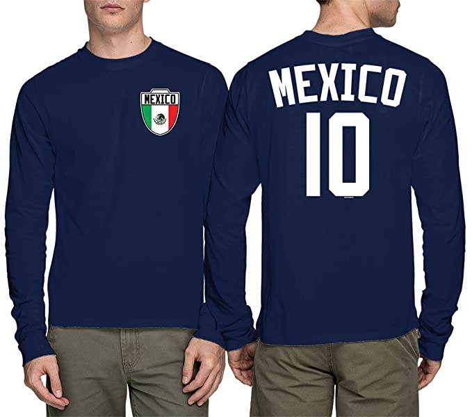 Manga Larga para Hombre - Camiseta de fútbol, de fútbol de México - Azul -: Amazon.es: Ropa y accesorios