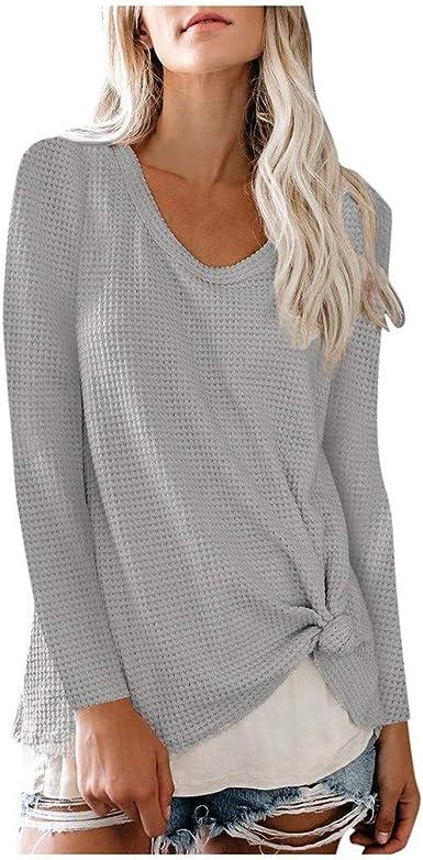 Jerseys Mujer Verano Sencillos Blusa Superior de Manga Larga Suelta suéter sólido de Invierno para Mujer Cuello Redondo Camisa de poliéster Casual Top Suelto Casual LiNaoNa: Amazon.es: Ropa y accesorios