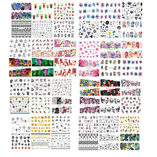 SIUSIO 48PCS Nail Decals Assortment Halloween Nail Stickers Manicure Nail Art Decals Decoration -