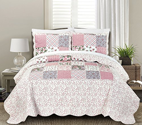 Blissful Living Luxury Ruffle Quilt Set Including Shams - Lightweight and Soft for all Seasons - Lyssa Pink - Full / Queen - Full Queen Quilt Bedding