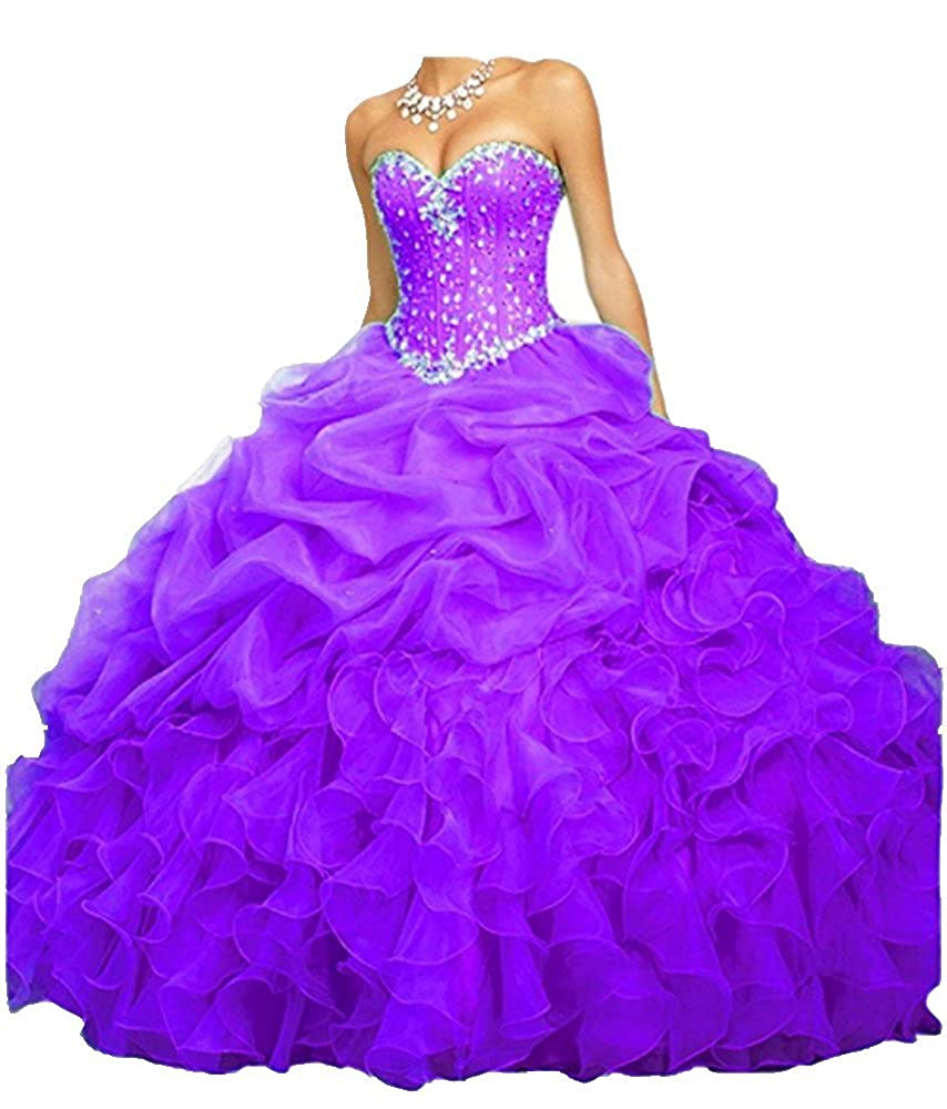 Purple ANGELA Women's Ball Gown Organza Quinceanera Dresses Prom Gowns
