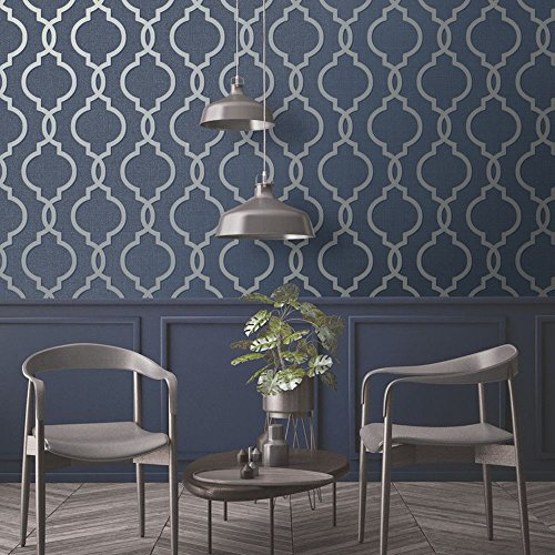 Holden Decor Laticia Geometric Trellis Wallpaper Navy Blue and Silver 65493