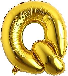 32 inch Letter Balloons Gold Alphabet Number Balloons Foil Mylar Party Wedding Bachelorette Birthday Bridal Shower Graduation Anniversary Celebration Decoration (32 inch Q Gold)
