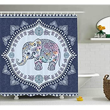 Ambesonne Ethnic Shower Curtain Bohemian Elephant Figure With Gypsy Inspirations Spiritual Oriental Figures Graphic