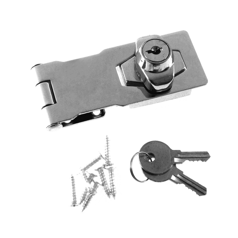 54652006 Hasp and Staple Gate Cupboard Cabinet Door Safety Lock W/Keys Chrome 4' KATSU Tools
